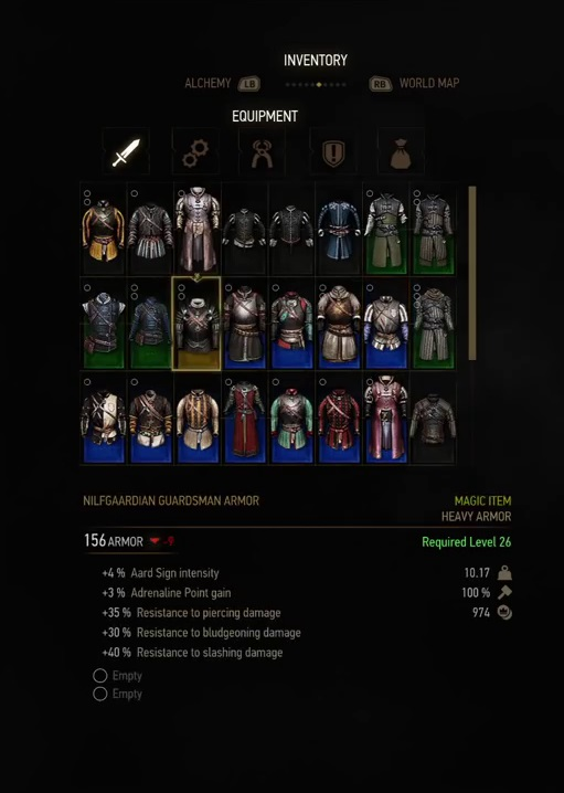 witcher 3 armor nilfgaardian guardsman armor