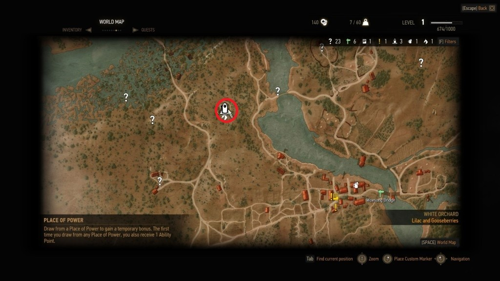 TW3 Vulpine Woods Place of Power Map