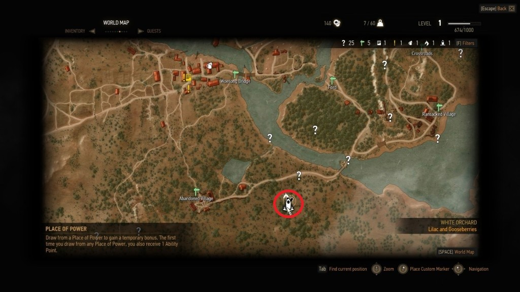 The Witcher 3 Southern White Orchard Place of Power Map